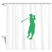 Green Golfer Shower Curtain