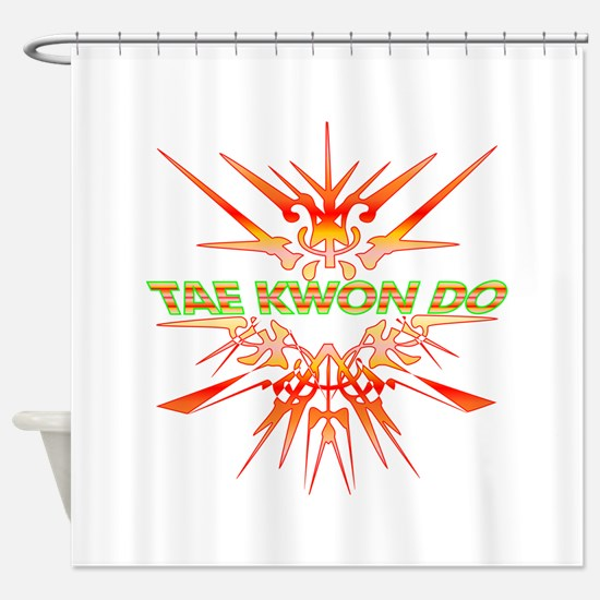 TKD Abstract Sparring Shower Curtain