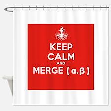 Keep Calm and Merge Alpha Shower Curtain