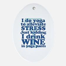 Yoga vs Wine Humor Oval Ornament