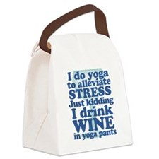 Yoga vs Wine Humor Canvas Lunch Bag