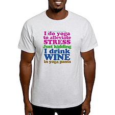 Yoga vs Wine Humor T-Shirt