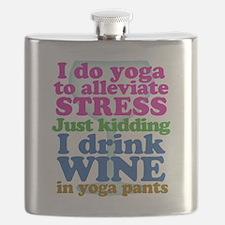 Yoga vs Wine Humor Flask