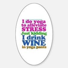 Yoga vs Wine Humor Sticker (Oval)