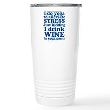 Yoga vs Wine Humor Travel Mug