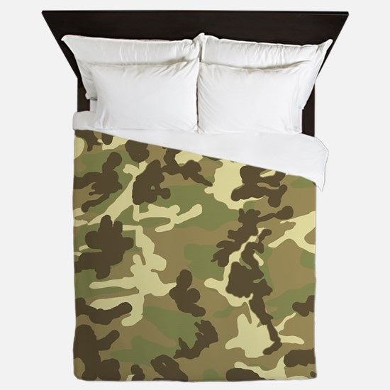 Green Camouflage Pattern Queen Duvet