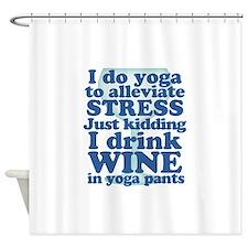 Yoga vs Wine Humor Shower Curtain