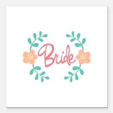 "Wreath Bride Square Car Magnet 3"" x 3"""