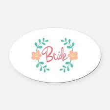Wreath Bride Oval Car Magnet