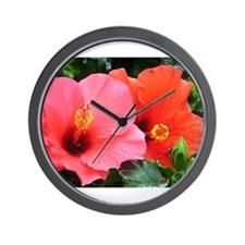 A Pair Of Hibiscuses Wall Clock