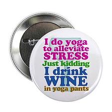 """Yoga vs Wine Humor 2.25"""" Button"""