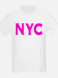 NYC new york city bright hot pink initials T-Shirt