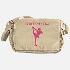 Pink Figure Skate Silhouette (Custom) Messenger Ba