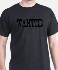 Wanted Text Black Grunge T-Shirt
