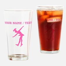 Pink Figure Skate Silhouette (Custom) Drinking Gla