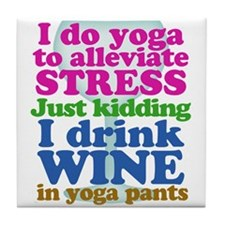 Yoga vs Wine Humor Tile Coaster