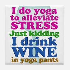 Yoga vs Wine Humor Tile Coaster