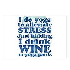 Yoga vs Wine Humor Postcards (Package of 8)