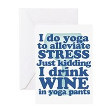 Yoga vs Wine Humor Greeting Cards