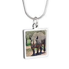 Rhinoceros Silver Square Necklace