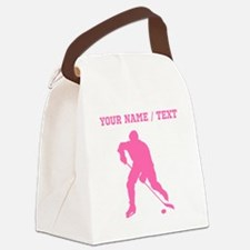 Pink Hockey Player Silhouette (Custom) Canvas Lunc