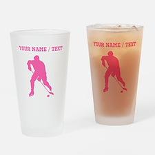 Pink Hockey Player Silhouette (Custom) Drinking Gl