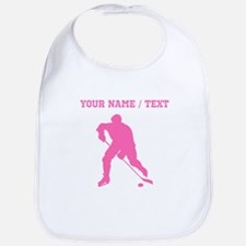 Pink Hockey Player Silhouette (Custom) Bib