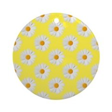 Daisy Flower Pattern Yellow Ornament (Round)