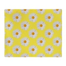 Daisy Flower Pattern Yellow Throw Blanket