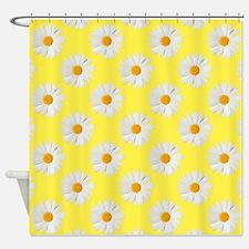 Daisy Flower Pattern Yellow Shower Curtain