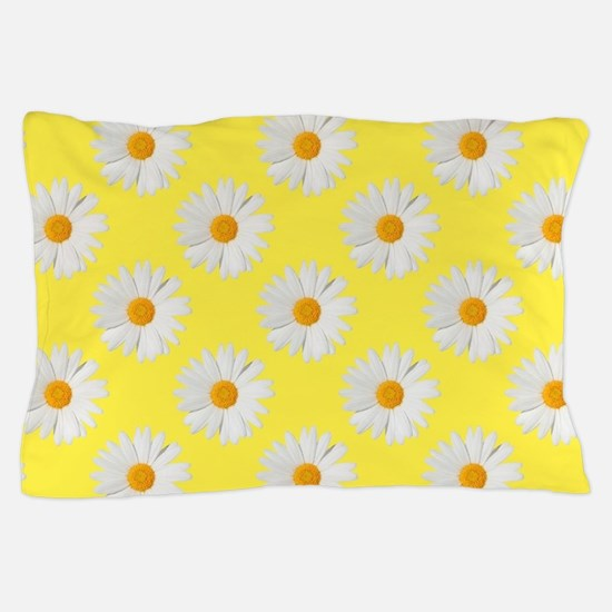 Daisy Flower Pattern Yellow Pillow Case