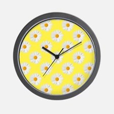 Daisy Flower Pattern Yellow Wall Clock