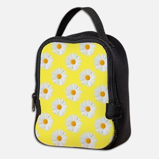 Daisy Flower Pattern Yellow Neoprene Lunch Bag