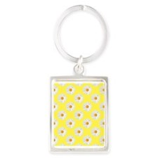 Daisy Flower Pattern Yellow Portrait Keychain
