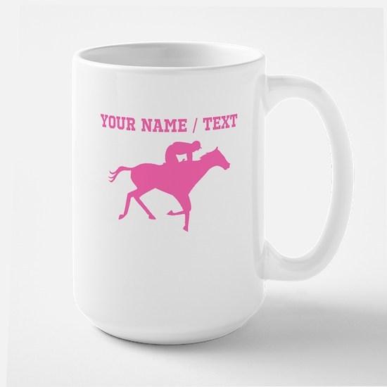 Pink Horse Racing Silhouette (Custom) Mugs
