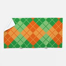 Green-Orange Argyle Beach Towel