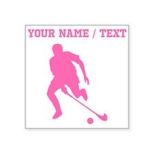 Pink Field Hockey Player Silhouette (Custom) Stick