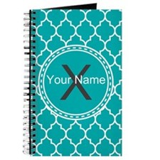 Custom Name And Initial Teal Quatrefoil Journal