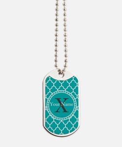 Custom Name And Initial Teal Quatrefoil Dog Tags