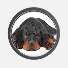 Colored Pencil Drawing Rotweiler Puppy Wall Clock