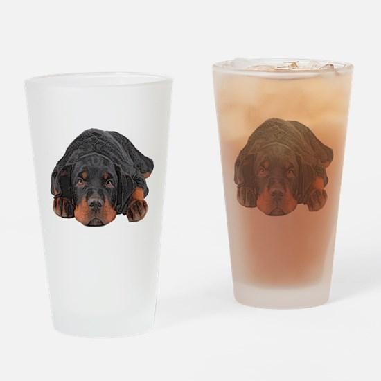 Colored Pencil Drawing Rotweiler Pu Drinking Glass
