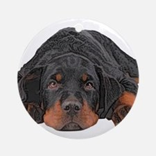 Colored Pencil Drawing Rotweiler Ornament (Round)