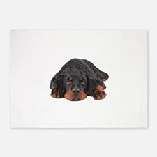 Colored Pencil Drawing Rotweiler Pu 5'x7'Area Rug