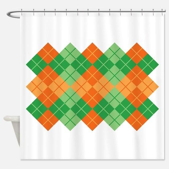 Green-Orange Argyle Shower Curtain