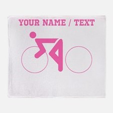 Pink Cycling (Custom) Throw Blanket