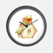 FLORAL BIRDHOUSE Wall Clock