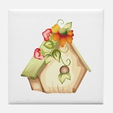 FLORAL BIRDHOUSE Tile Coaster
