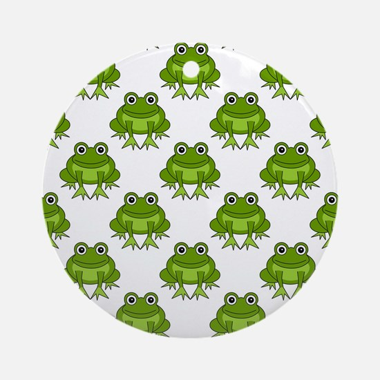 Cute Happy Frog Pattern Ornament (Round)