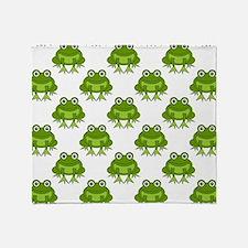 Cute Happy Frog Pattern Throw Blanket