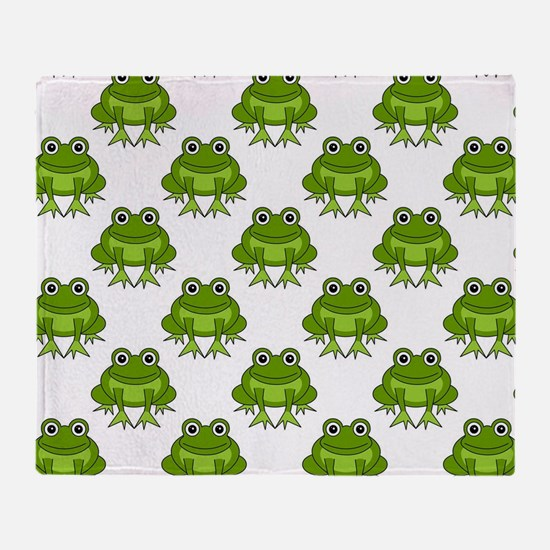 Cute Happy Frog Pattern Throw Blanket